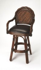 Transform your kitchen or bar space into an island retreat with this attractive barstool. Its high-back design is framed by twisted rattan with a hand-woven rattan back panel and a plush brown leather seat. It boasts a sturdy rattan base and footrest with Product Image