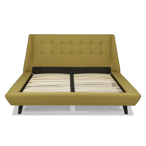Prelude Complete Platform Bed with Button-Tuft Headboard and Upholstered Exterior, Willow Finish, Queen