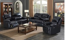 Kaden Black Bonded Leather Reclining Console Loveseat
