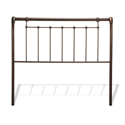 Legion Metal Sleigh-Styled Headboard Panel with Twisted Rope Top Rail, Ancient Gold Finish, Queen