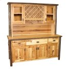 """Hickory 75"""" Buffet & Hutch - with Wine Rack on Top Portion - Espresso Product Image"""