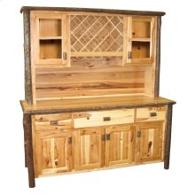 """Hickory 75"""" Buffet & Hutch - with Wine Rack on Top Portion - Espresso"""