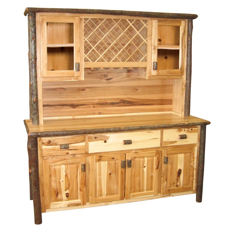 Hickory 75 Buffet Hutch With Wine Rack On Top Portion Espresso