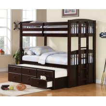 Twin / Twin Wood Bunkbed With Trundle and Storage (Espresso)
