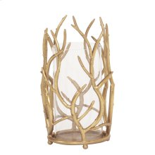 Gold Branches Hurricane Candle Holder, Small