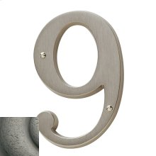 Distressed Antique Nickel House Number - 9