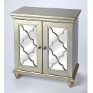 Equal parts style and function, this versatile mirrored accent cabinet is a welcome addition to your entryway, living room or dining room. The piece features two doors with a lattice overlay and mirrored glass panels that open to reveal ample interior spa Product Image