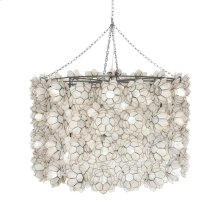 Extra Large Capiz Shell Lotus Drum Pendant With 3 Light Cluster for 40w Bulbs. Includes 3' Chrome Chain & Canopy. Additional Chain May Be Purchase Upon Request.