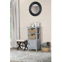 Tuscan Retreat® Basket Stand With Wood Plank Door Shelf With Two Baskets - Powder Blue Wood Finish /