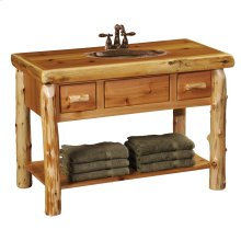 Cedar Freestanding Open Vanity with Shelf and Two Drawers - without Top - with Towel Bar