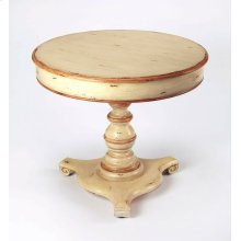 This vintage foyer table is a beautiful addition to an entryway, living room, den or sitting area. Expertly crafted from poplar hardwood solids and wood products with a maple veneer top, it boasts a cream hand painted finish with gold tipping.