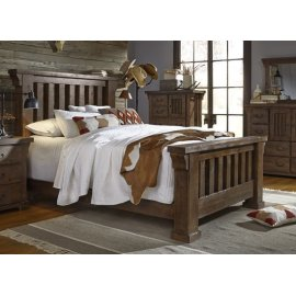 6/6 King Slat Bed - Tobacco Finish