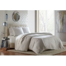 3pc Queen Coverlet/Duvet White