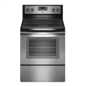 5.3 Cu. Ft. Freestanding Electric Range with Easy Wipe Ceramic Glass Cooktop - BLACK-ON-STAINLESS