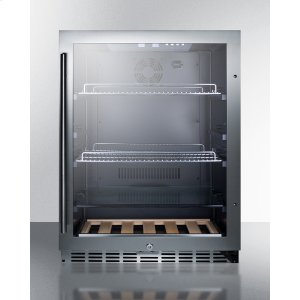 Built-in Undercounter Beverage Refrigerator With Seamless Trimmed Glass Door, Digital Controls, Lock, and Black Cabinet -