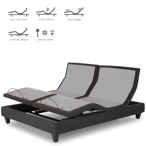P-232 Furniture Style Adjustable Bed Base with Upholstered Frame and LPConnect, Black Finish, Split California King
