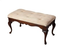 This delightful Queen Anne styled bench is a wonderful addition to any bedroom, entryway or sitting area. It is crafted from selected hardwood solids and wood products. Features a button-tufted chenille upholstered cushion and rich plantation cherry finis
