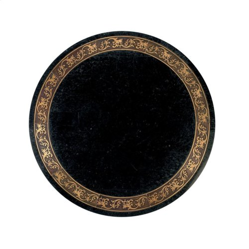 Wood products and resin components. Black fossil stone veneer top with metal and brass inlays.