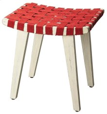 Stylish and versatile, this stool is a convenient addition wherever extra seating is needed. Crafted from mango wood solids, its red cotton straps feature a woven lattice pattern for good looks and a sturdy seat.