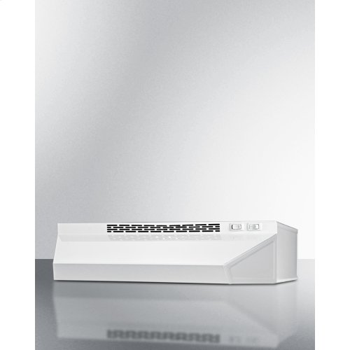 20 Inch Wide Ductless Range Hood In White Finish