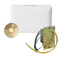 Builder Doorbell Kit with Junction Box Transformer and Lighted Brass Pushbutton