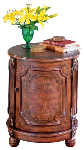 Unique hand painted design on selected hardwoods and wood products. Door and side panels feature embossed leather.