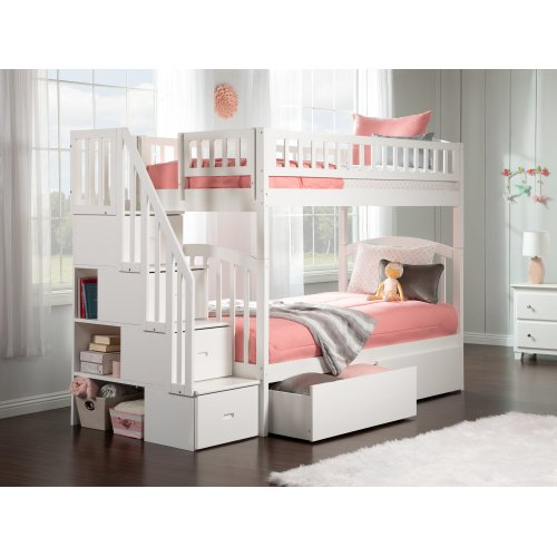 Westbrook Staircase Bunk Bed Twin over Twin with Urban Bed Drawers in White
