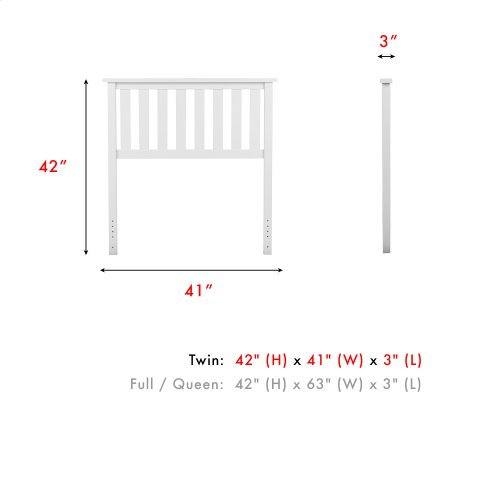 Belmont Wood Headboard Panel with Flat Top Rail and Slatted Grill Design, White Finish, Twin