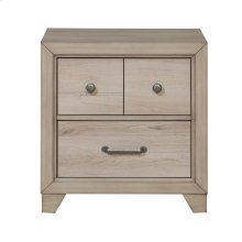 Kids 2 Drawer USB Charging Nightstand in River Birch Brown