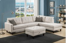 Kourtney Beige Sectional with Storage Ottoman
