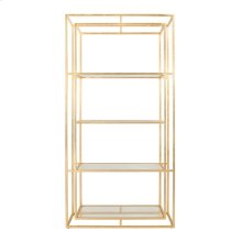 Double Frame Etagere In Gold Leaf With Glass Shelves
