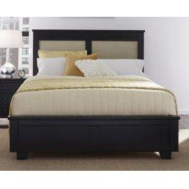 4/6-5/0 Full/Queen Upholstered Headboard - Black Finish