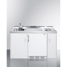 """60"""" Wide All-in-one Kitchenette With A Smooth 2-burner Electric Cooktop, Compact Refrigerator-freezer, Sink, and Storage Cabinets"""