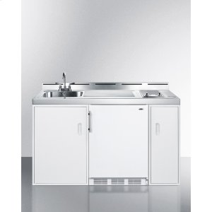 """Summit60"""" Wide All-in-one Kitchenette With A Smooth 2-burner Electric Cooktop, Compact Refrigerator-freezer, Sink, and Storage Cabinets"""