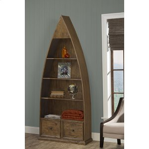Hillsdale FurnitureTuscan Retreat(r) Dinghy Boat 4 Shelves Bookcase With Drawers - Antique Pine