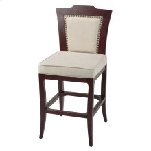 Springfield Bar Stool with Merlot Finished Wood Frame, Oatmeal Upholstery and Nailhead Trim, 30-Inch Seat Height