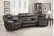 Abbie Burgundy Leather Air Reclining Theater Set Product Image