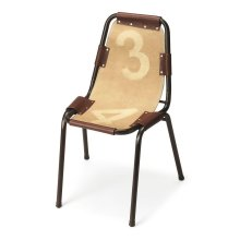 This Side Chair features a canvas seat and back riveted to a sturdy, yet lightweight cast aluminum frame with complementary leather straps.