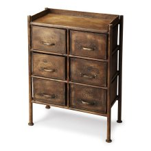 The Cameron chest is made entirely of iron. The industrial chic metalworks finish adds style to your space while the six pull out drawers offer ample storage to tuck away all your necessities. The crackle finish makes this chest seem as if it's been part