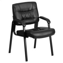 Black Leather Executive Side Reception Chair with Black Metal Frame