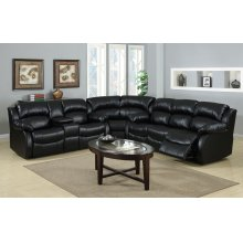 Kaden Black Leather Reclining Sectional