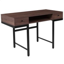 Dark Ash Wood Grain Finish Computer Desk with Drawers and Black Metal Legs