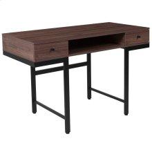 Dark Ash Wood Grain Finish Computer Desk with Drawers and Black Metal Legs
