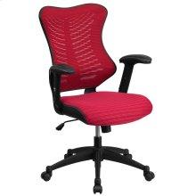 High Back Designer Burgundy Mesh Executive Swivel Chair with Adjustable Arms