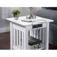 Mission End Table with Charger White