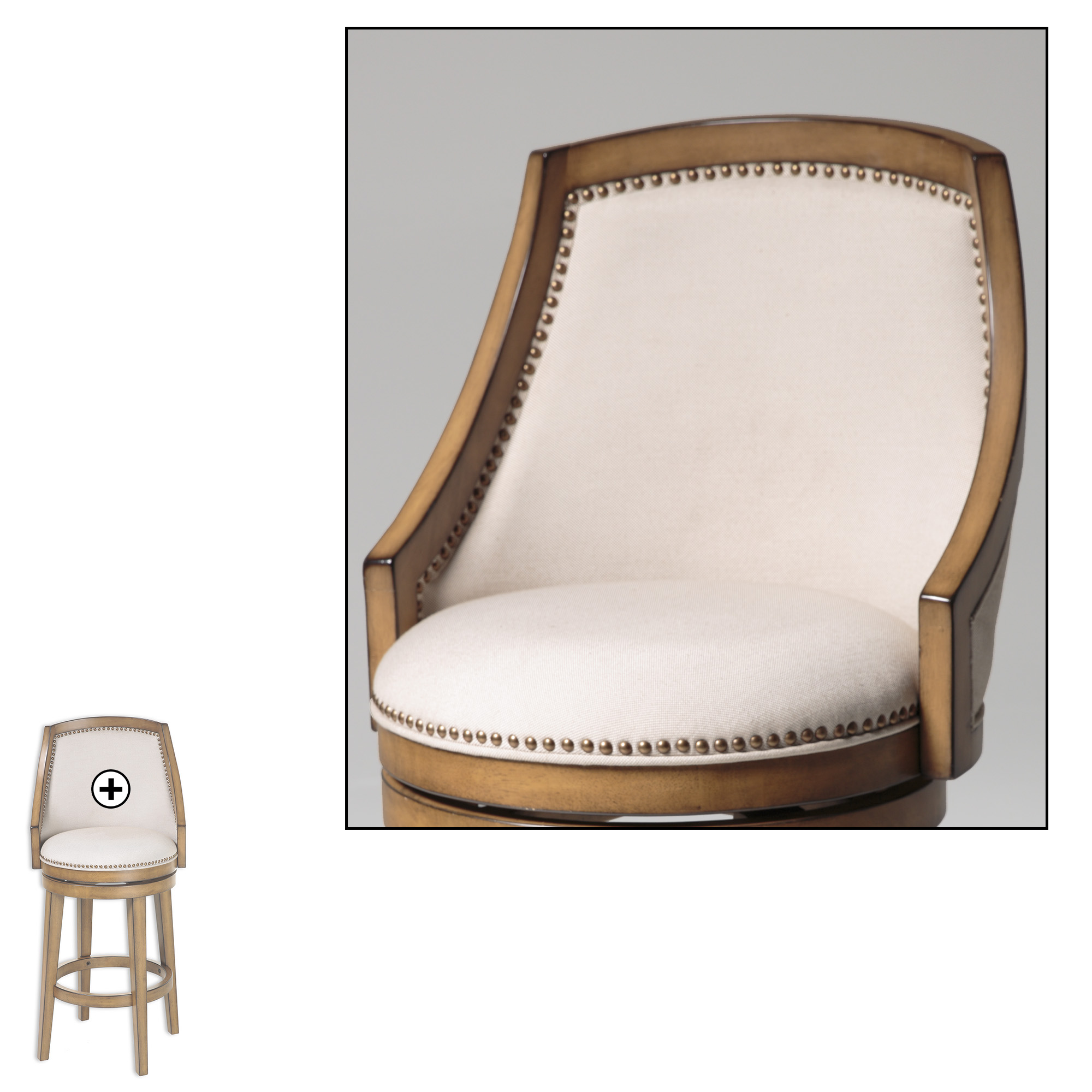 C1X100Fashion Bed Group Charleston Wood Barstool with Putty ...