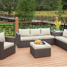Davina Patio Sectional W/ Ottoman & Storage