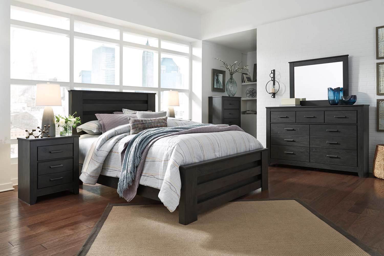 Brinxton   Black 3 Piece Bed Set (Queen)