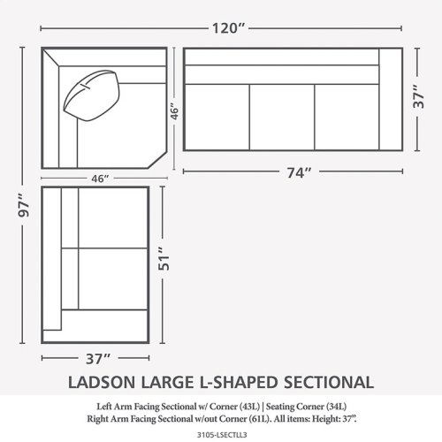 American Casual Ladson Large L-Shaped Sectional