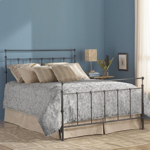 Winslow Complete Metal Bed and Steel Support Frame with Castings and Straight Top Rails, Mahogany Gold Finish, Queen